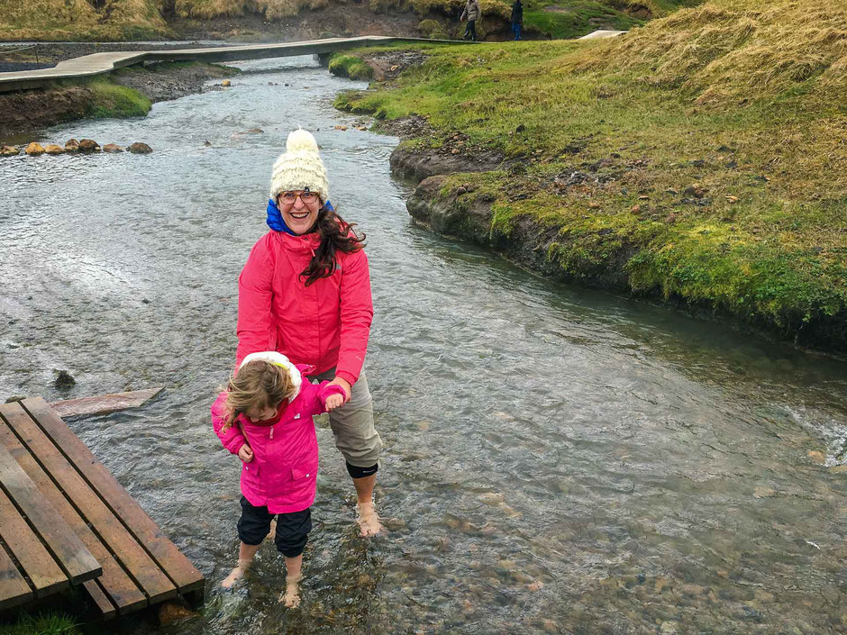 Hveragerði Hot Springs River Trail in Iceland with kids