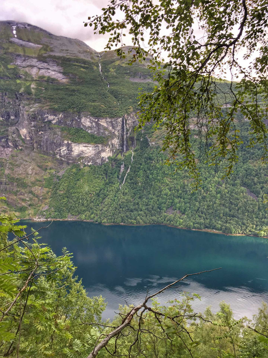 Waterfall view Geirangerfjord Norway when hiking with kids