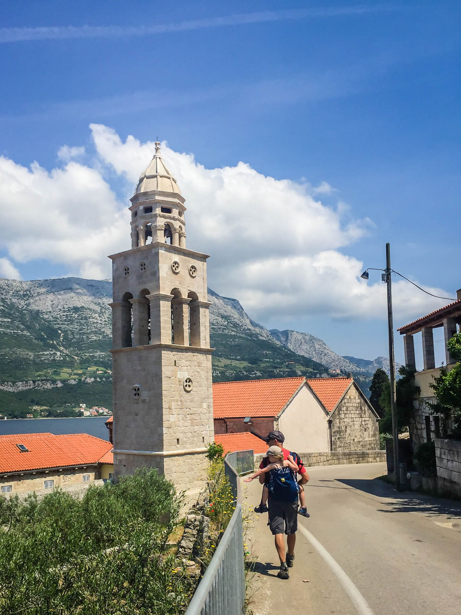 Walking back to Korcula Old Town from Kocje Protected Area in Croatia with Kids