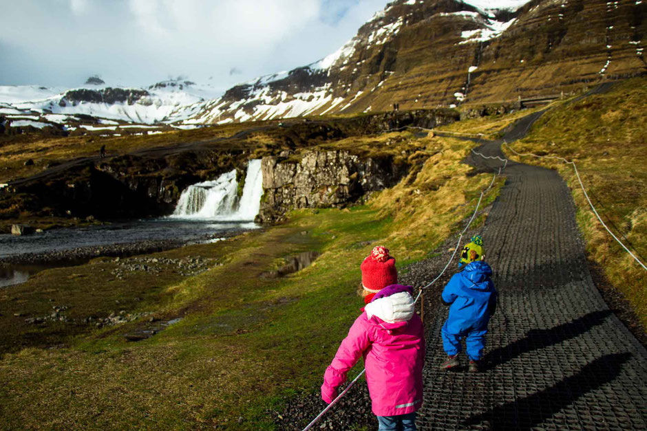 Kirkjufellsfoss Snaefellsnes Peninsula Iceland with kids