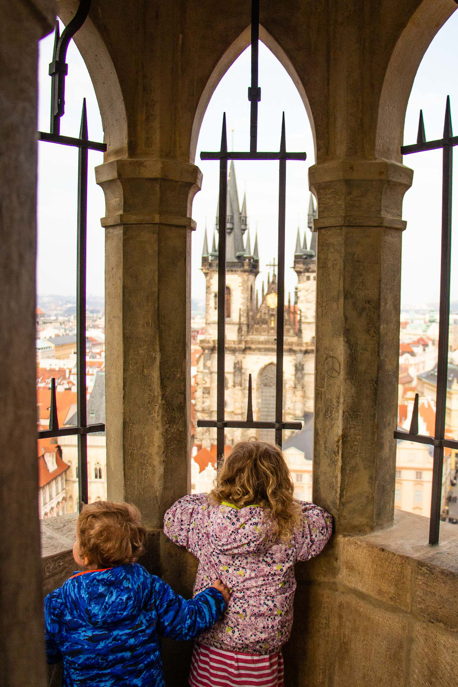 View from the Old Town Hall Tower in Prague with kids