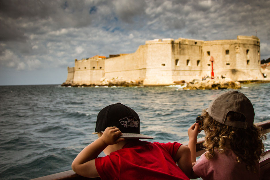 Ferry from Dubrovnik to Lokrum Island with kids