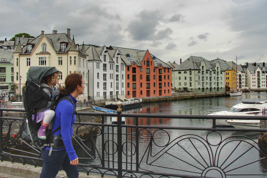 Walking in Alesund Norway with kids