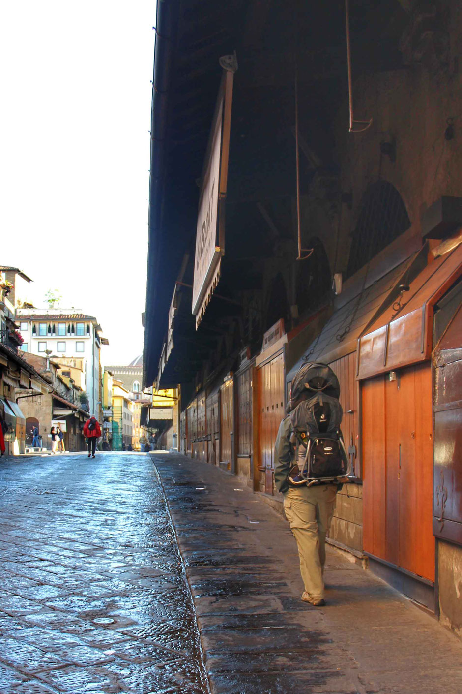 Walking across Ponte Vecchio Florence Italy With a Toddler