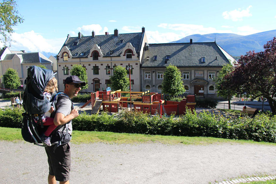Town Park with kids in Alesund Norway