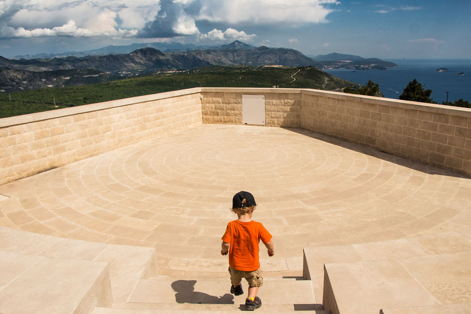 View at the top of Mount Srd in Dubrovnik, Croatia