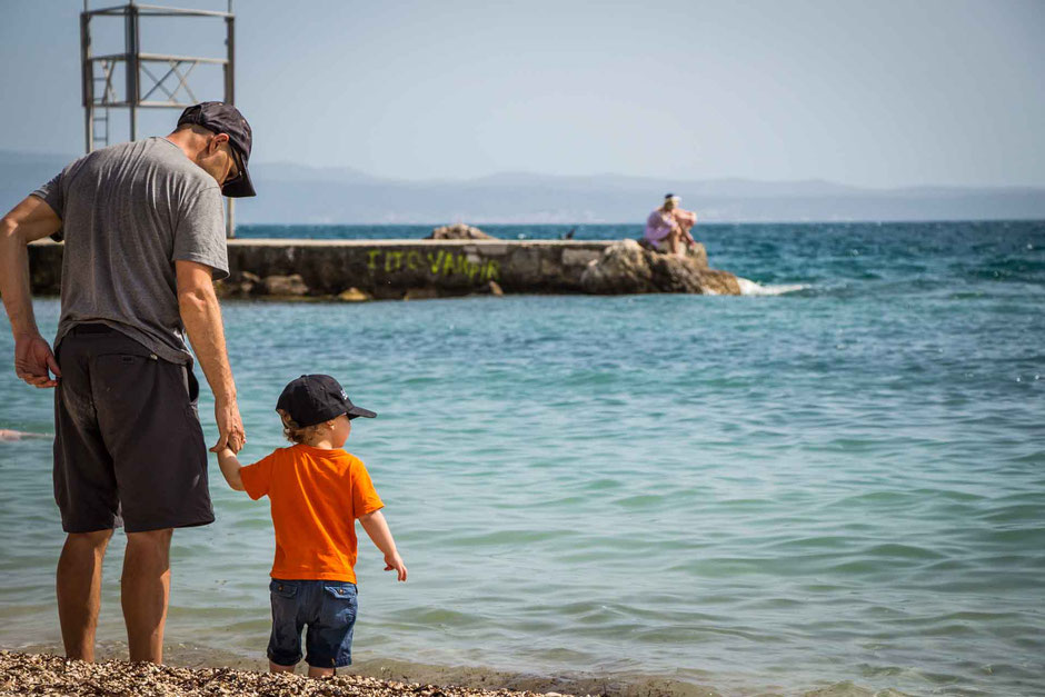 Ovcice Beach in Split Croatia with toddler
