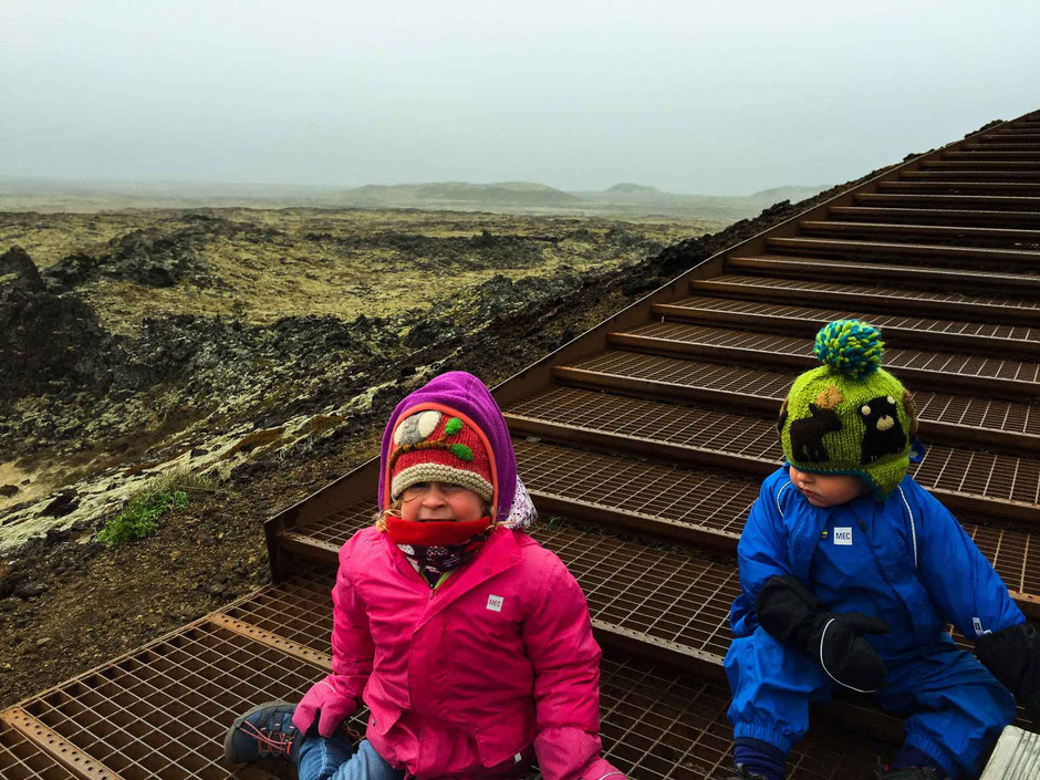 Saxholl Volcano Crater Snaefellsjoekfull National Park Iceland with small kids