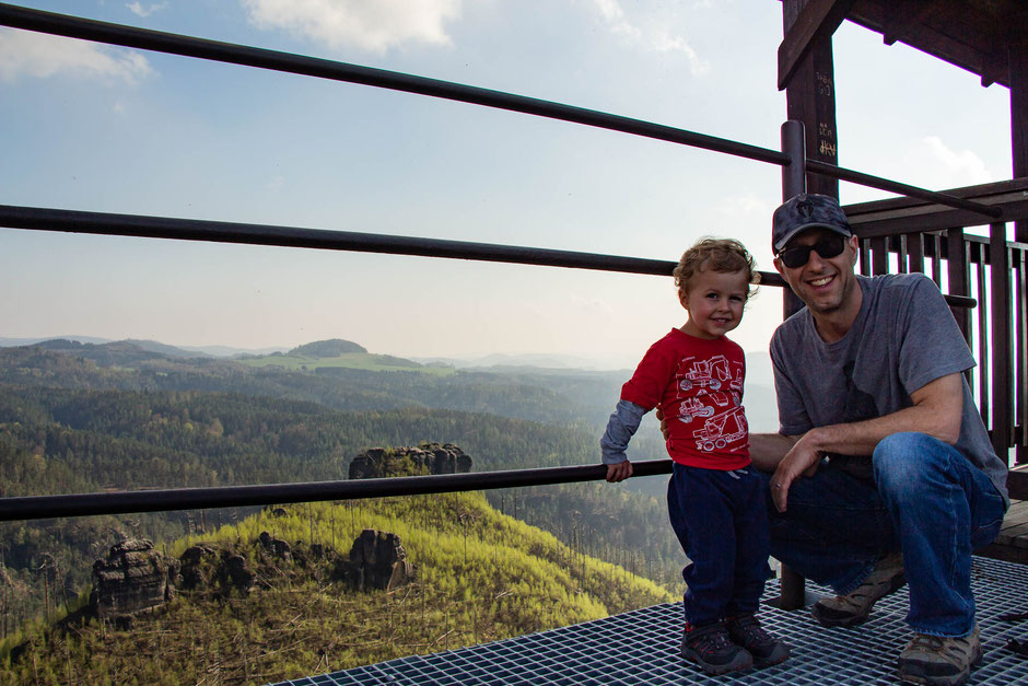 View from Mariina Vyhlidka with a toddler in Bohemian Switzerland