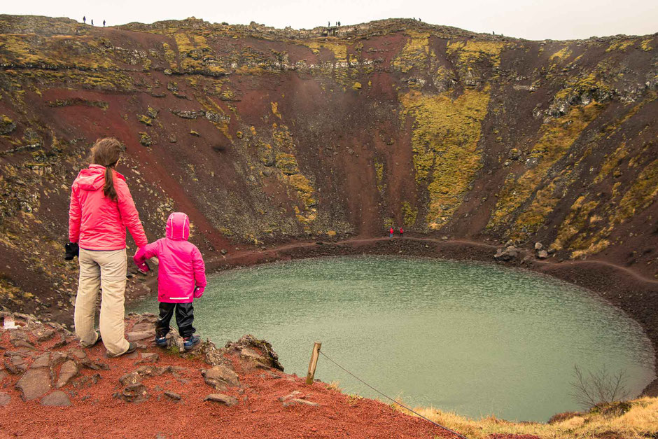 Kerid Crater Lake Golden Circle Iceland with kids