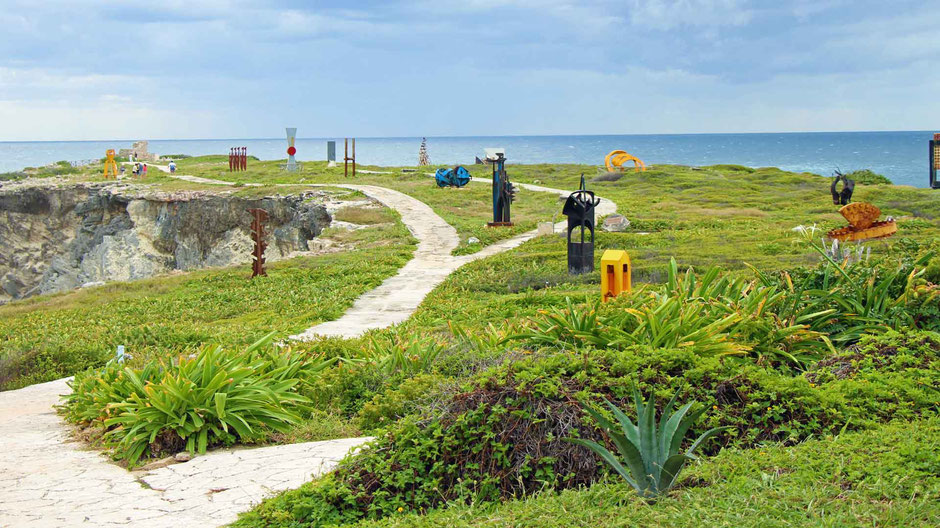 A Day of Exciting Family Fun on Isla Mujeres - The Sculpture Garden at Punta Sur
