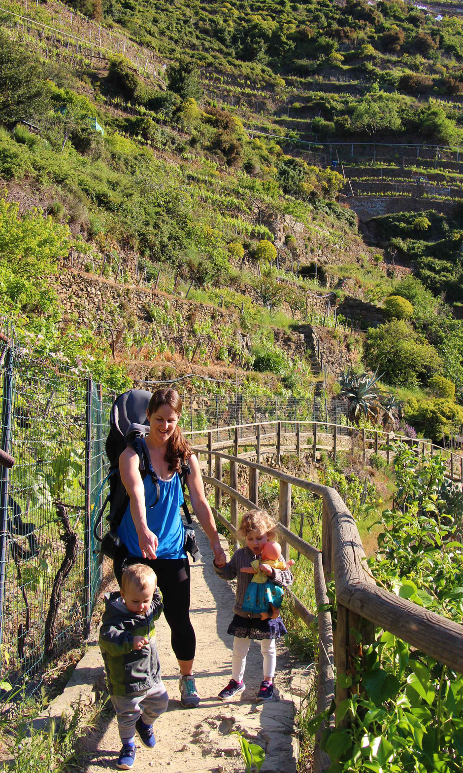 How to Hike Cinque Terre with Kids -Manarola to Cornigila - the kids had fun hiking too
