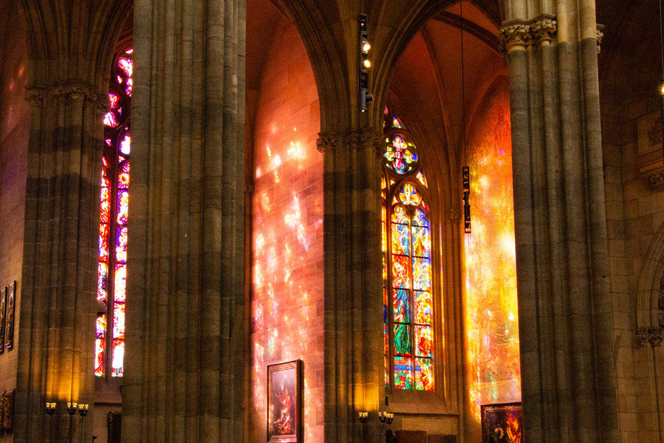Stained glass in St. Vitus Cathedral Prague
