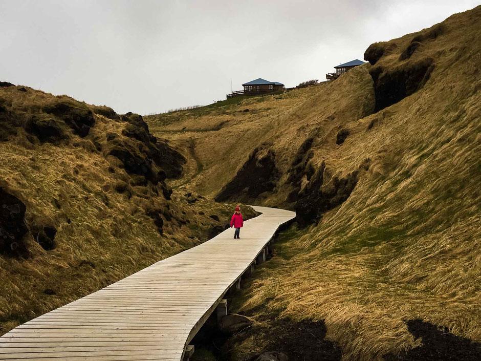 Boardwalk along hike Arnarstapi to Hellnar in Iceland with Kids
