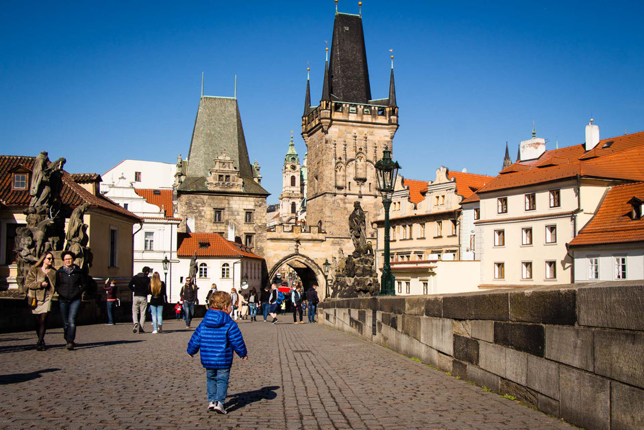 Charles Bridge Prague with toddler