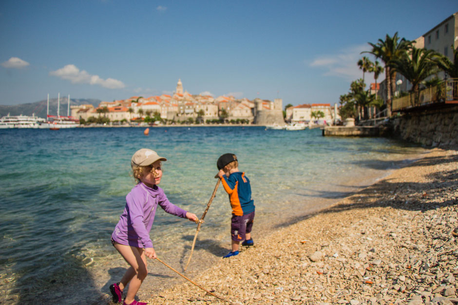 Beach near Korcula Old Town with Kids