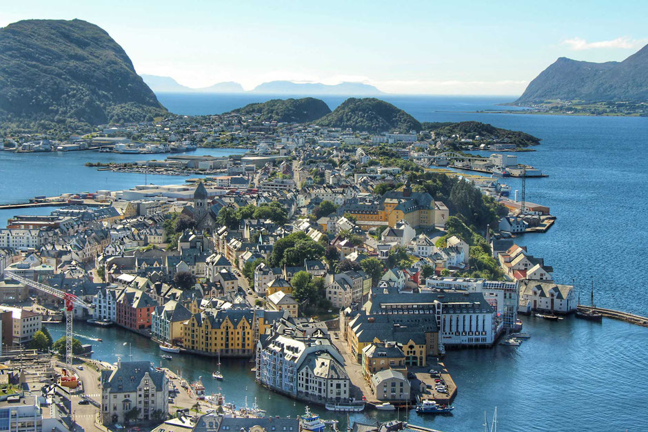View of Alesund Norway from Aksla Viewpoint