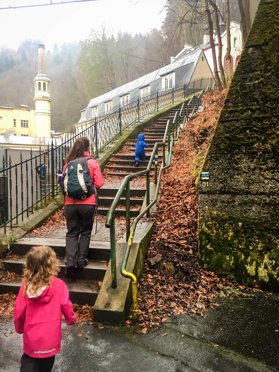 Hiking up to Diana Lookout in Karlovy Vary Czech Republic