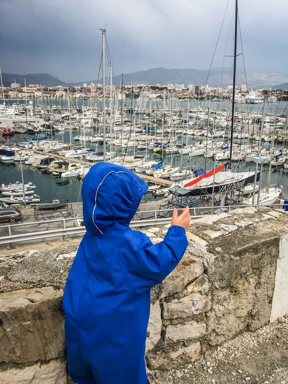 Waterfront promenade in Split Croatia with kids