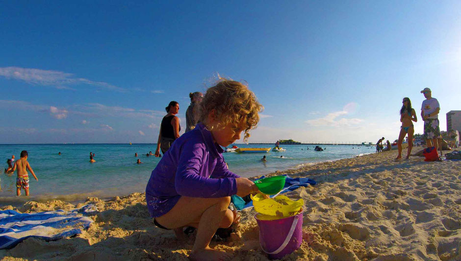 6 Best Public Family Beaches in Playa del Carmen - Off Resort - Playa Mamitas - Playing with Sand Toys