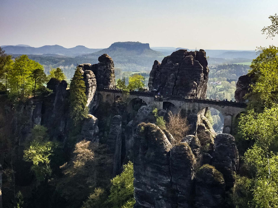 Bastei Bridge in Saxon Switzerland in Germany