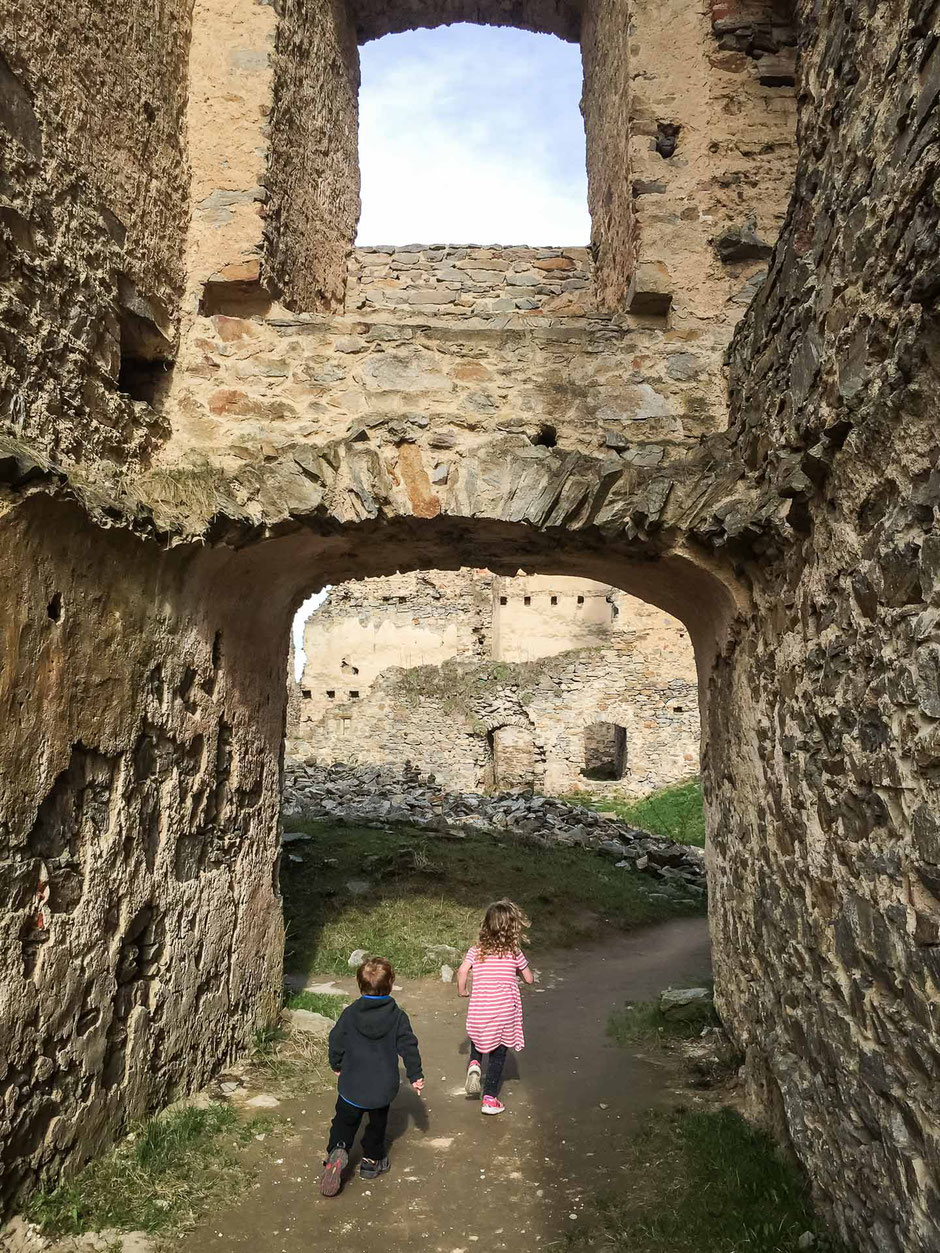 Exploring Hrad Divci Kamen with kids near Cesky Krumlov in the Czech Republic
