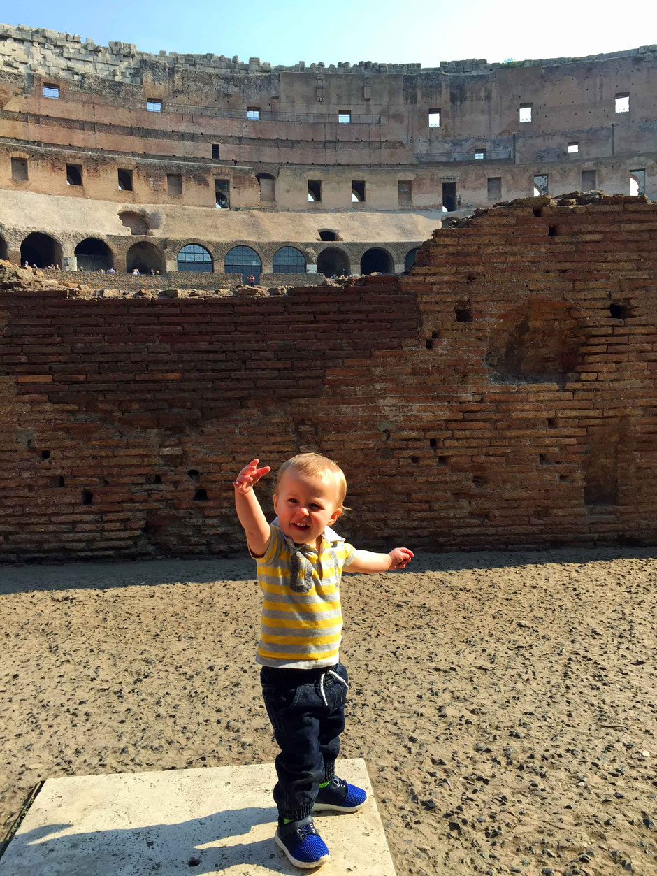 12 Reasons Why Europe Is the Best Place to Travel with Your Kids - Kids pretending at the Colosseum, Rome