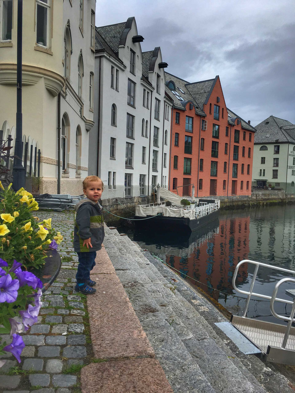 Alesund Art Nouveau District with children in Norway