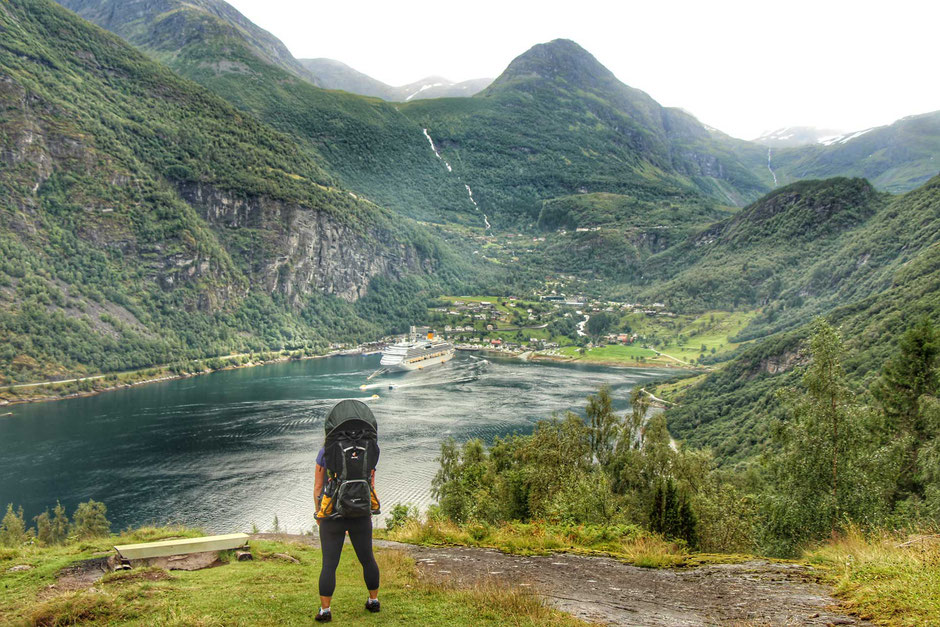 View of Geiranger from Homlong hiking with kids