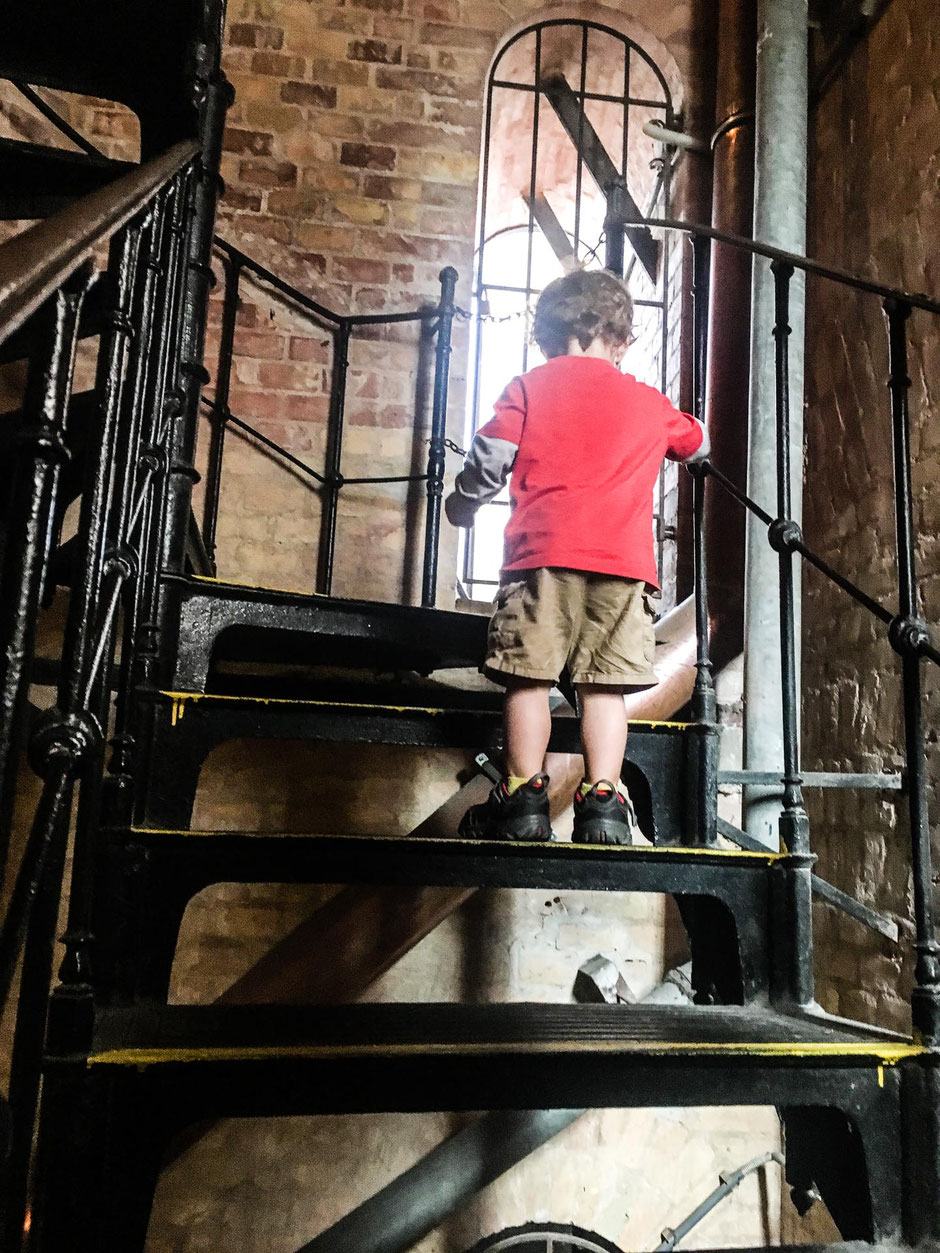 Climbing the bell tower with kids at St Stephens Basilica in Budapest