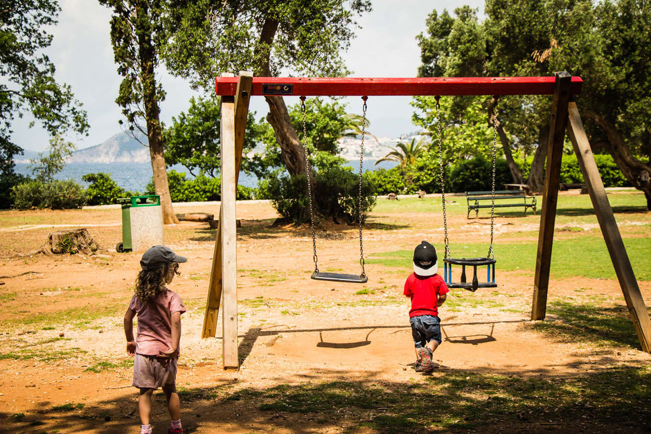 Playground on Lokrum Island Dubrovnik Croatia with children