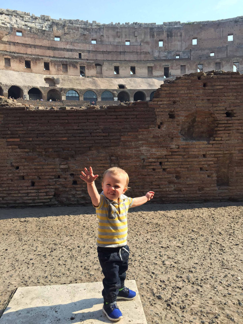 Rome Colosseum with children