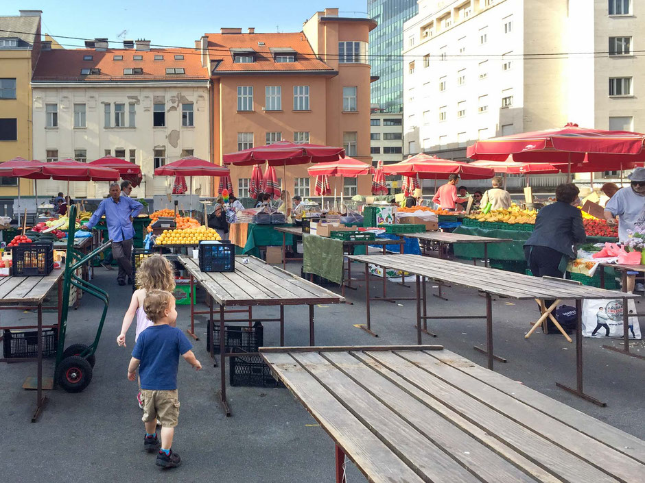 Dolac Market Zagreb Croatia with kids