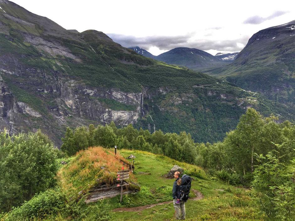 Homlongsaetra dairy farm view in Geirangerfjord Norway