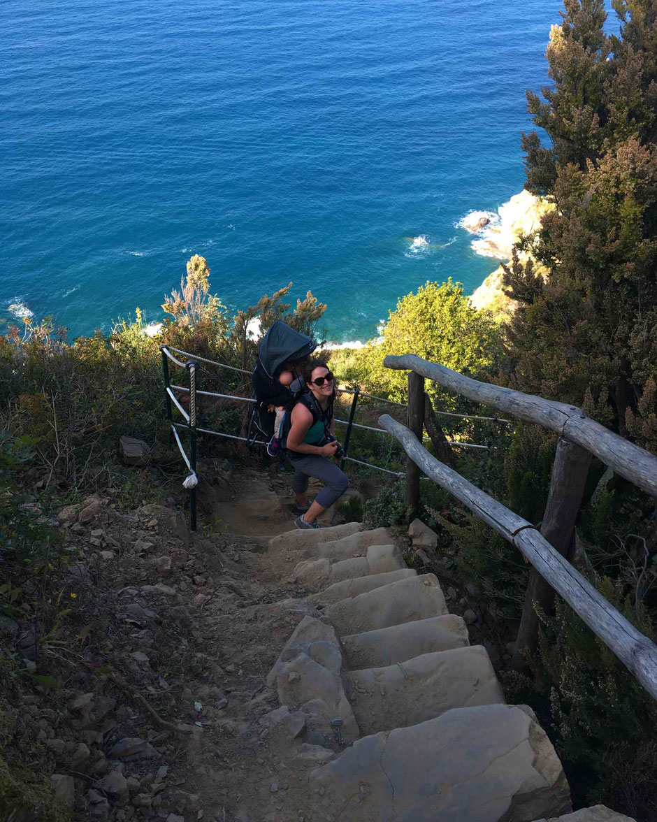 How to Hike Cinque Terre with Kids - Riomaggiore to Manarola - It's steep up and down, but look at those views of the Ligurian Sea!