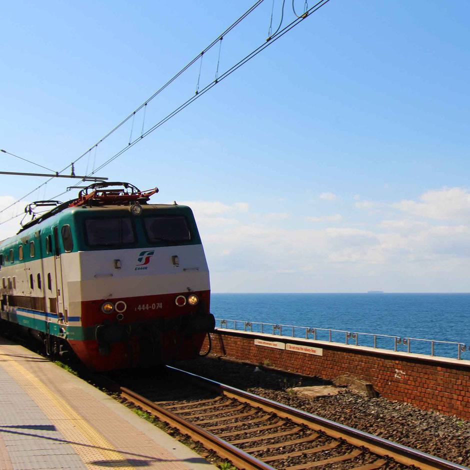 Enjoying the oceanfront views - Cinque Terre train station