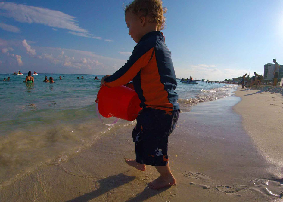 6 Best Public Family Beaches in Playa del Carmen - Off Resort - Playa Mamitas - Pails of Water