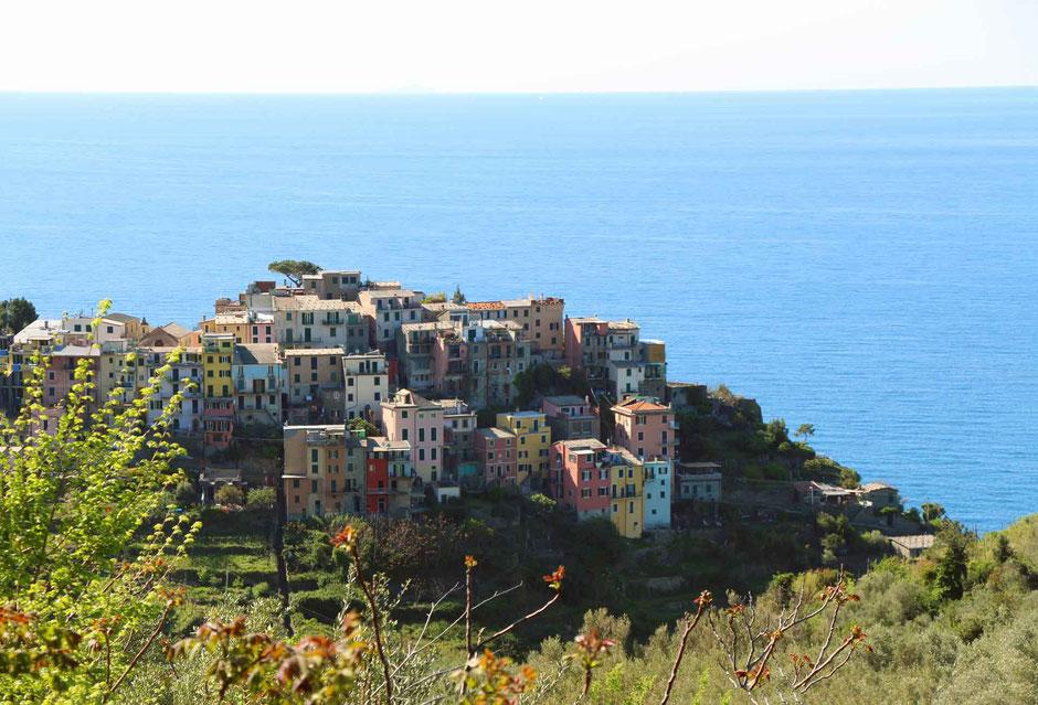 How to Hike Cinque Terre with Kids - Corniglia to Vernazza - Elevated View of Corniglia