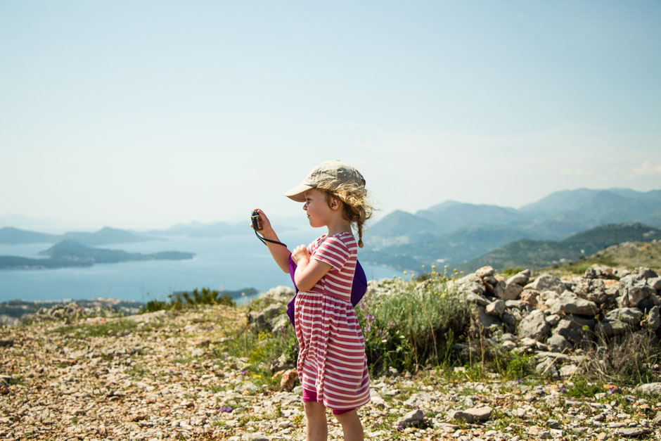 View at the top of Mount Srd in Dubrovnik, Croatia with Kids