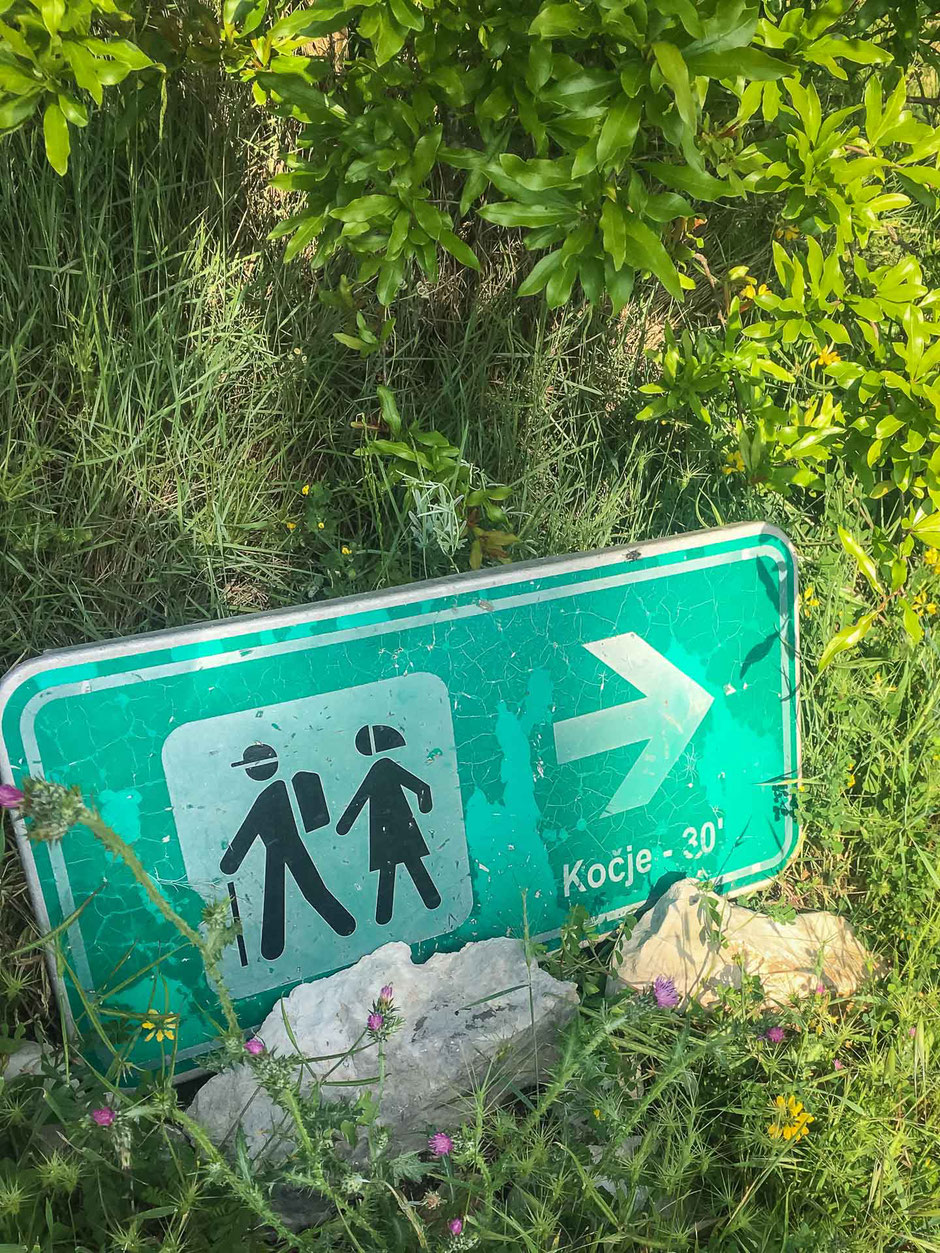 Sign to Kocje on Korcula Croatia