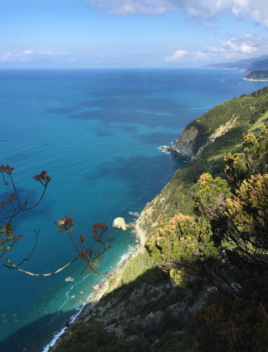 How to Hike Cinque Terre with Kids - Levanto to Monterosso - just look at the blue color of the Ligurian Sea