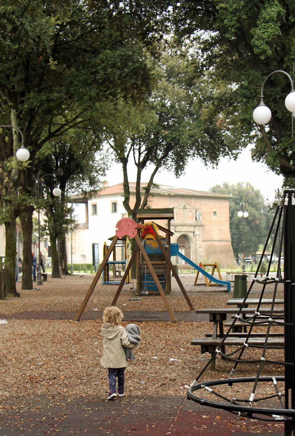 Playground in Lucca Italy - travel with kids