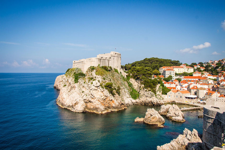 Views along the city walls in Dubrovnik Croatia