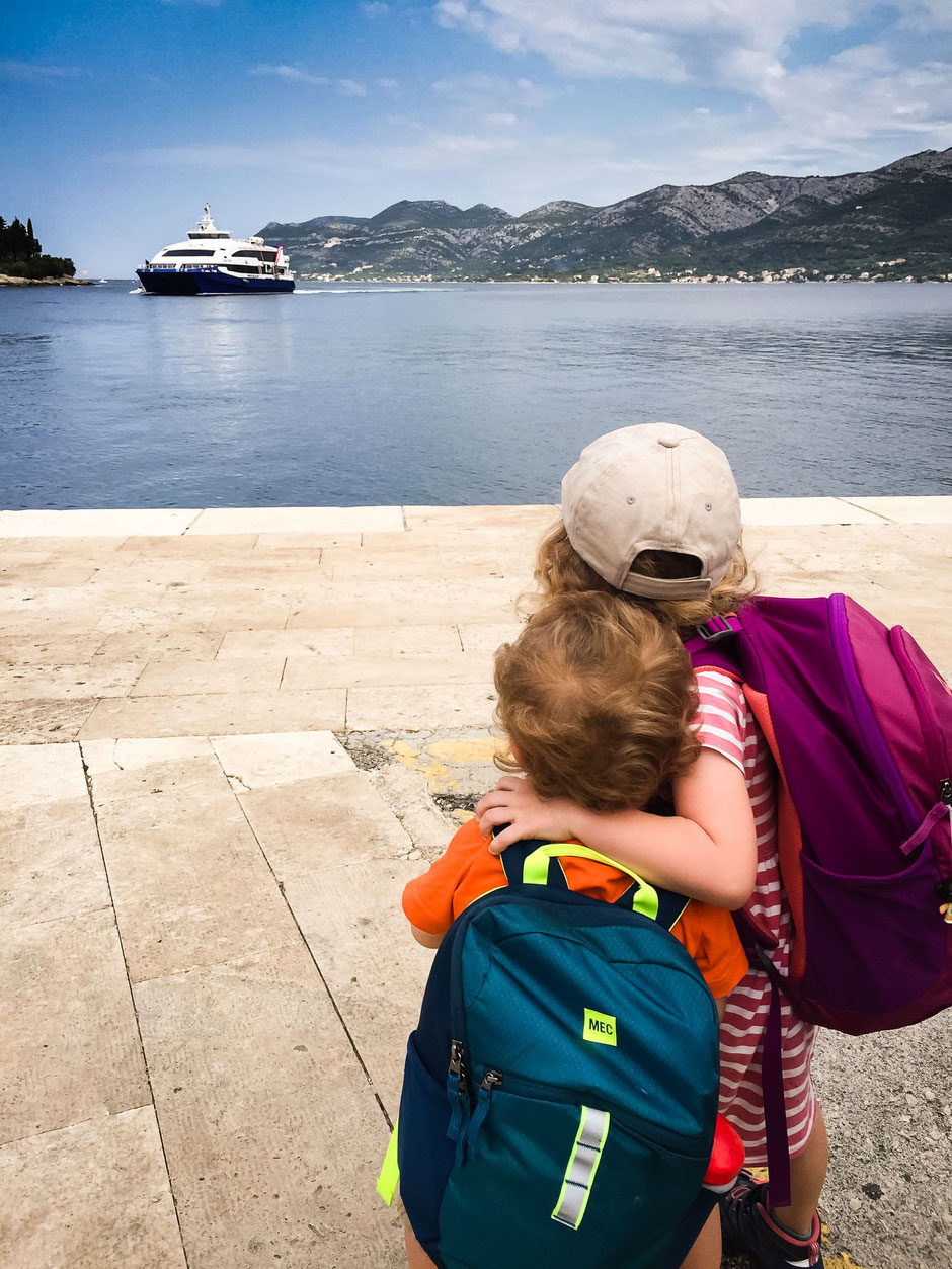 Ferry from Korcula to Dubrovnik with Kids
