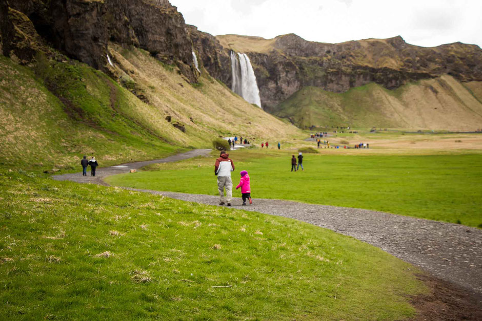 Path around Seljalandsfoss in South Iceland with Kids