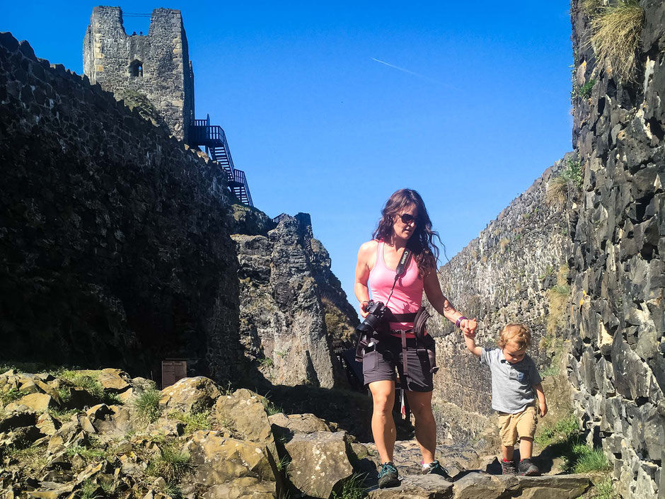 Exploring Trosky Castle in Bohemian Paradise with a toddler