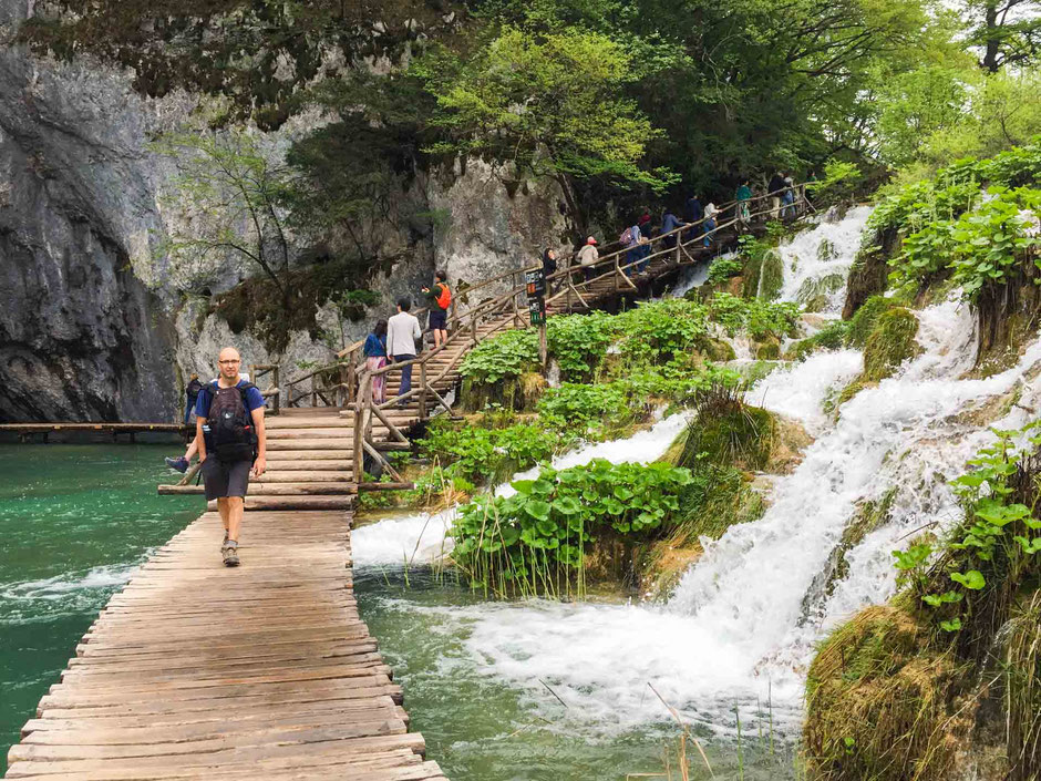 Waterfalls and boardwalk at Plitvice Lakes National Park Croatia