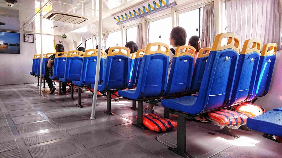 Passagierkabine, klimatisiert, an Bord eines Schiffes der Saigon Waterbus – Flotte