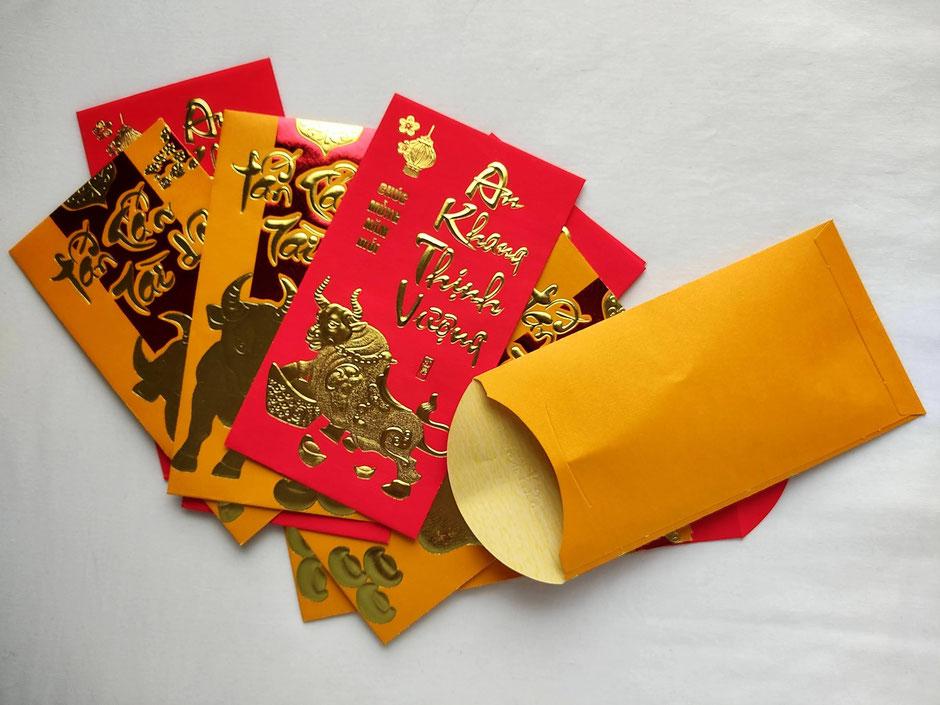 Li Xi Umschlag 2021 - das Jahr des Büffel - Geldgeschenk-Vietnam-TET Fest