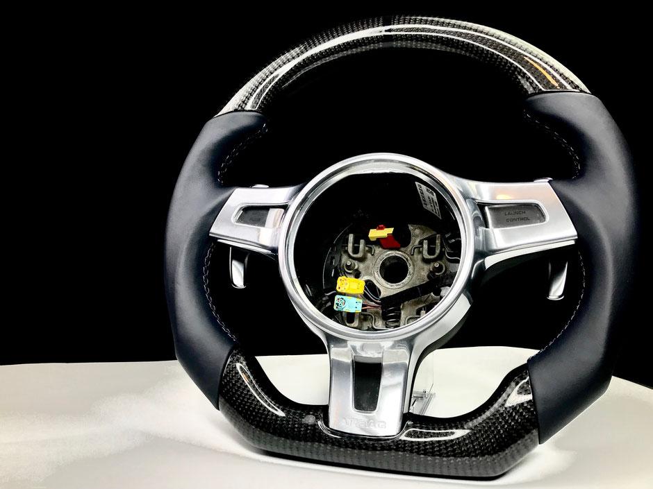 Porsche 911 Carbon lenkrad seeblau Leder